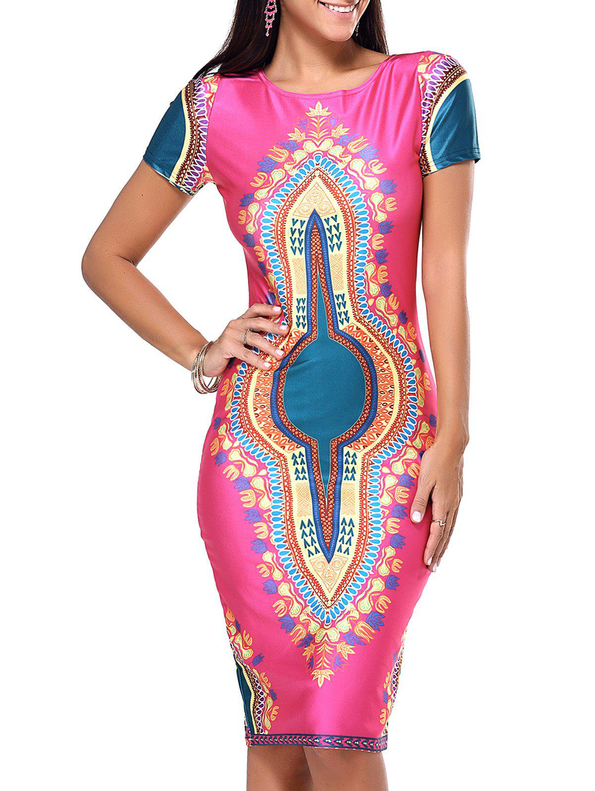 Exotic Tribal Pattern Bodycon Dress - ROSE RED XL