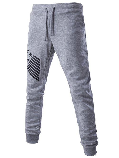 Stripes and Star Pattern Lace-Up Beam Feet Men's Pants