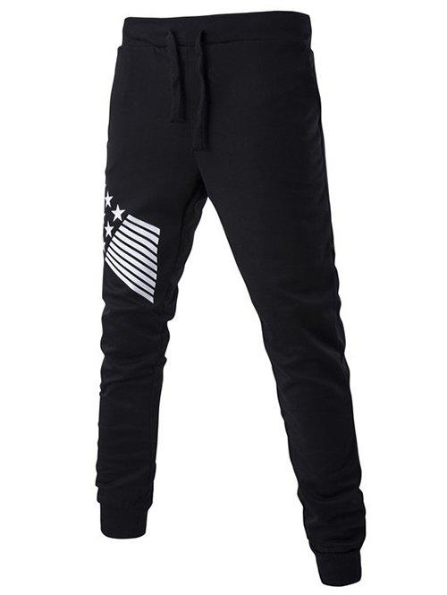 Stripes and Star Pattern Lace-Up Beam Feet Pants - BLACK XL