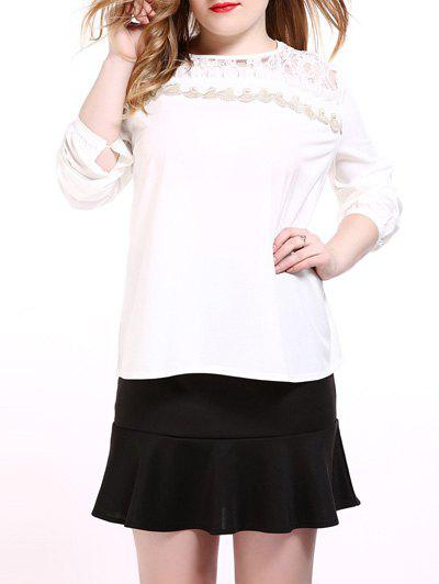 Oversized Sweet Long Sleeve Lace Splicing Blouse - WHITE 4XL