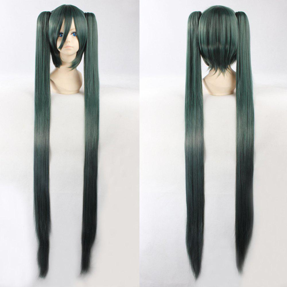 Fashion Synthetic Dark Green Omber Straight Long with Bunches Senbonzakura Hatsune Miku Cosplay Wig dd001498 dark green mixed long straight cosplay wig a mesh cap