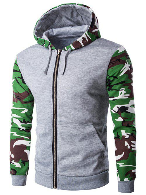 Camouflage Spliced Zip-Up Hooded Long Sleeve Men's Hoodie - LIGHT GRAY 2XL