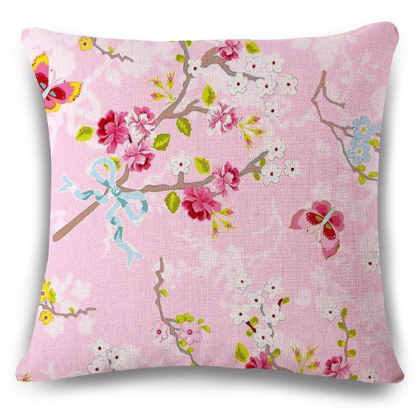 Sweet Home Decor Flax Flowerlet Butterfly  Pattern Sofa Pillow Case - LIGHT PINK