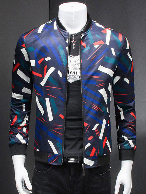 3D Geometric Print Long Sleeves Stand Collar Jacket - COLORMIX 5XL