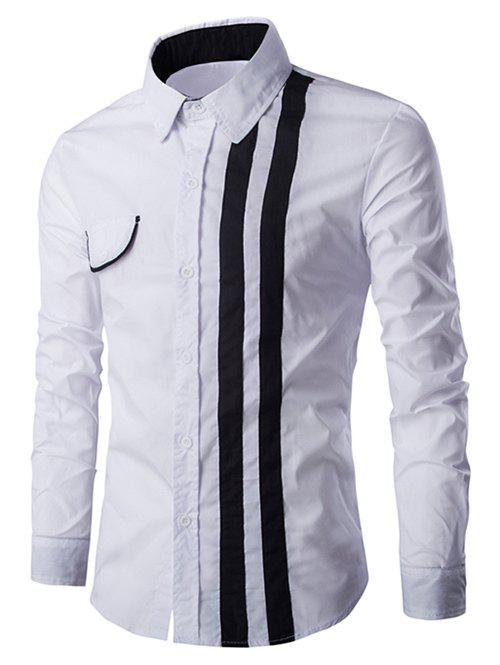 Turn-Down Collar Flap Embellished Verticla Stripe Long Sleeve Men's Shirt