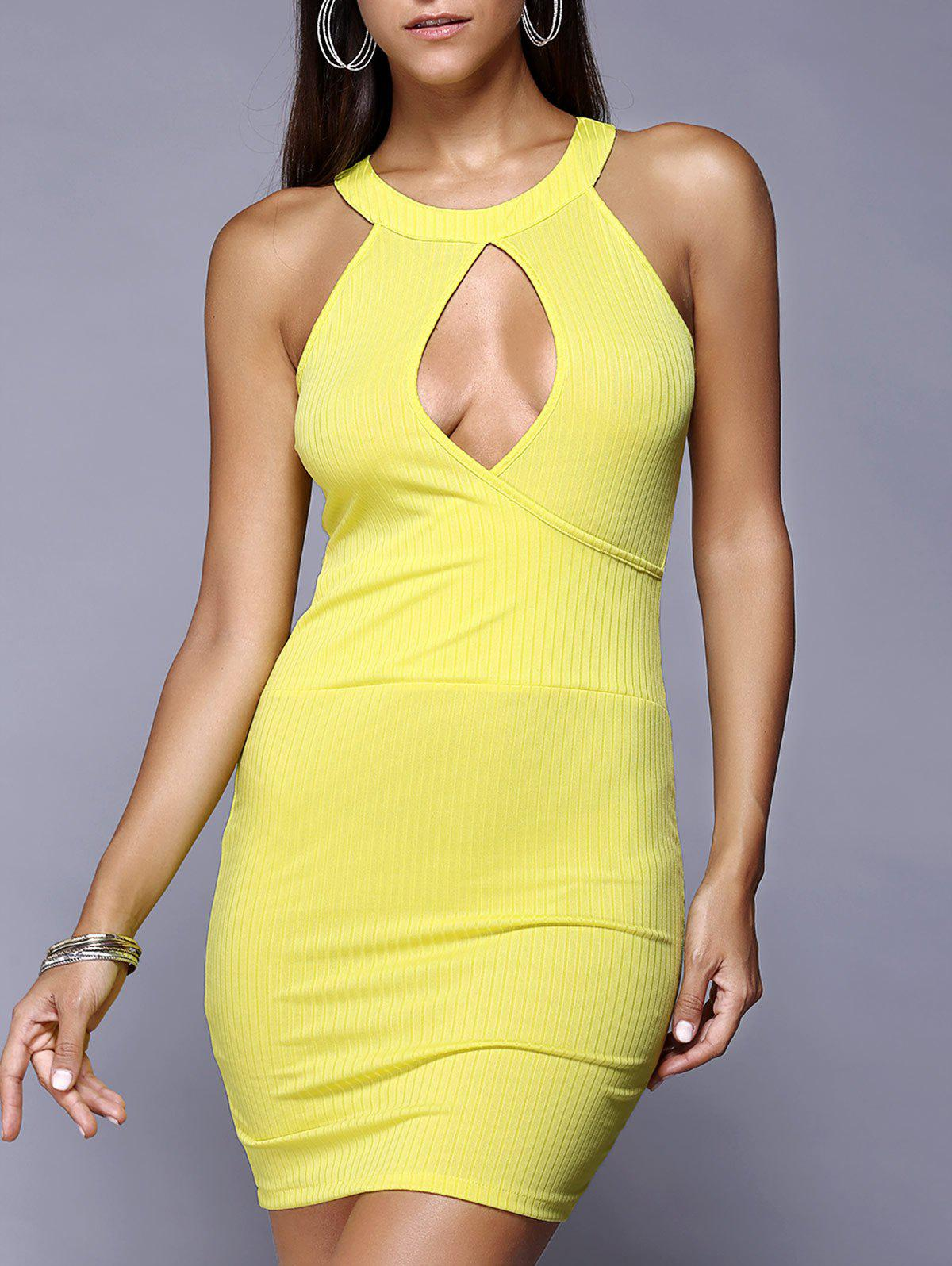 Keyhole Mini Night Out Bodycon Club Dress - LEMON YELLOW L
