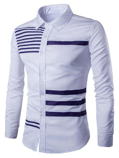 Turn-Down Collar Stripes Splicing Design Long Sleeve Men's Shirt - WHITE 2XL