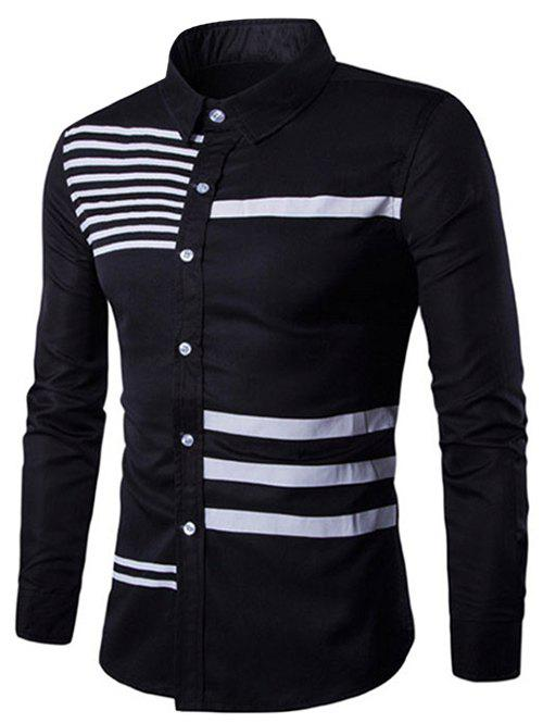 Turn-Down Collar Stripes Splicing Design Long Sleeve Men's Shirt - BLACK M