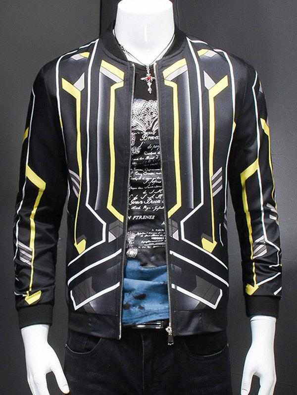 Stand Collar Long Sleeves 3D Geometric Print Jacket For Men - BLACK XL