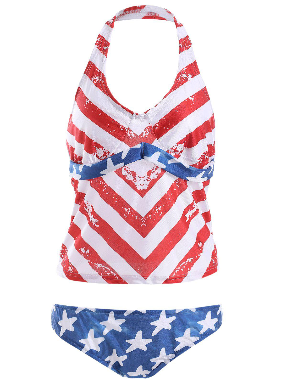 Halter Stars and Stripes Tankini with Padded Cups - BLUE/RED XL