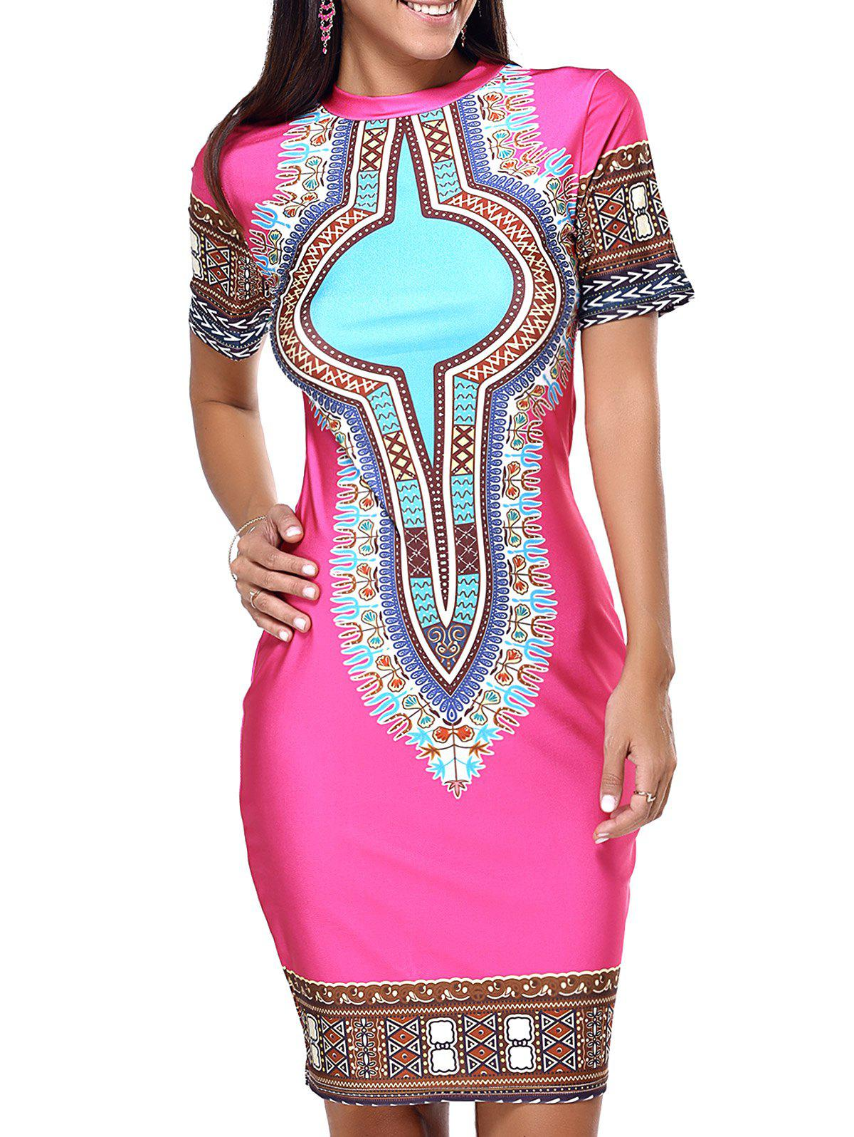 Ethnic Style Tribal Pattern Bodycon Dress - ROSE RED XL