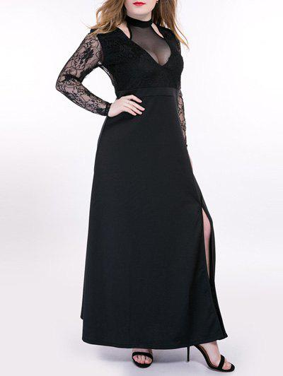 Oversized Alluring See-Through Lace Splicing Dress - BLACK 7XL