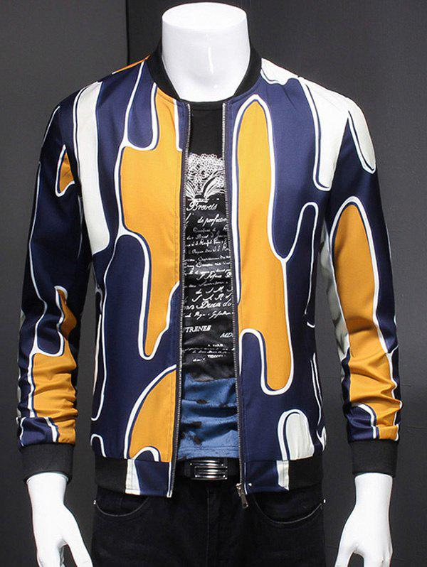 Abstract 3D Printed Ribbed Collar Long Sleeve Jacket For Men - YELLOW 5XL