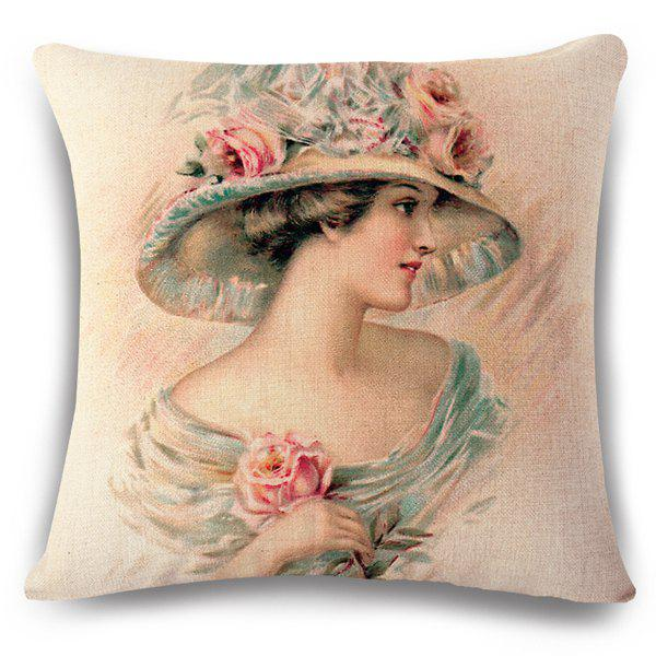 Vintage Flax Elegant Princess with Flower Hat Pattern Sofa Pillow Case - APRICOT