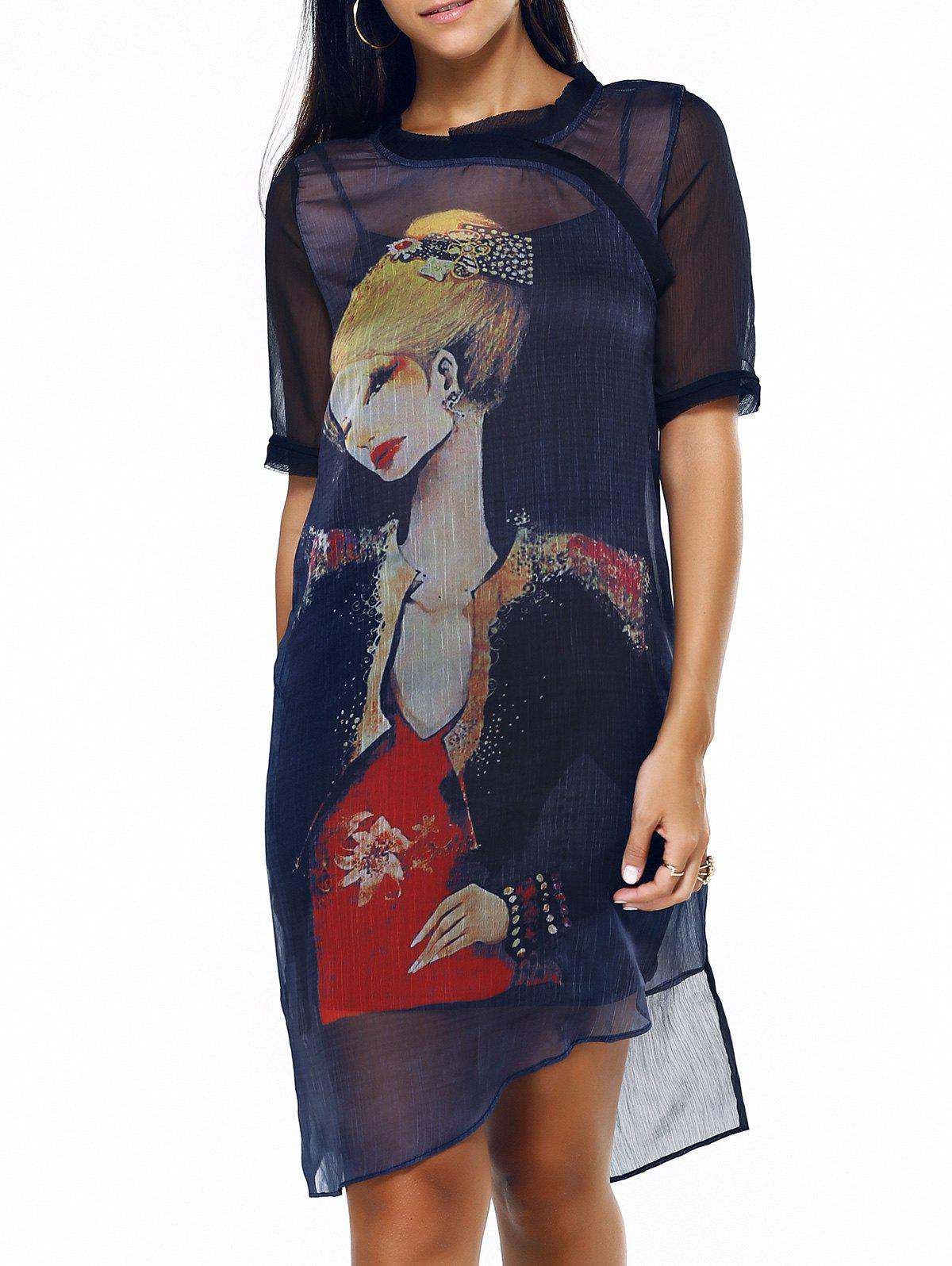 Elegant Women's Girl Pattern Asymmetric Dress and Tank Dress