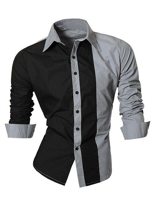 Long Sleeve Color Block Splicing Design Men's Shirt 189638824