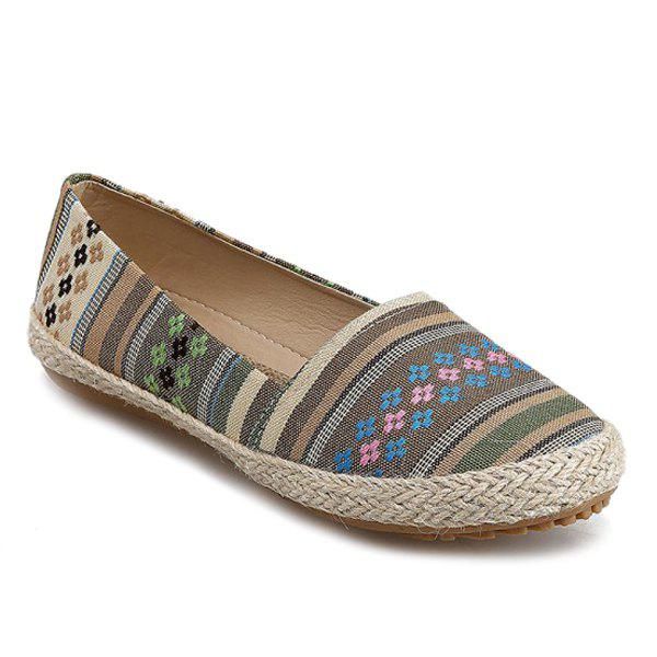 Leisure Striped and Weaving Design Women's Flat Shoes - YELLOW/GREEN 39