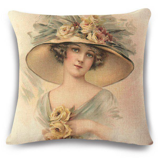 Cut Flax Sweet Lady with Flower Hat Painting Pattern Pillow Case