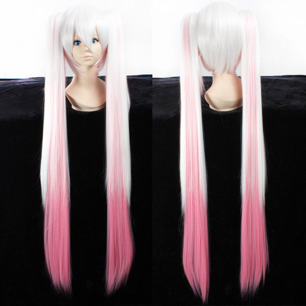 Fashion Synthetic White Gradient Pink Straight Long with Bunches QB Hatsune Miku Cosplay Wig free ship long silver white cosplay straight wig with two clip on ponytails