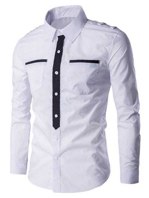 Turn-Down Collar Pockets Splicing Design Long Sleeve Men's Shirt - WHITE 2XL