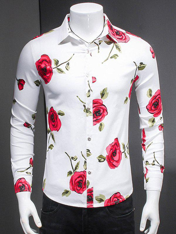 Fashionable Roses Print Turn-Down Collar Long Sleeves Shirt For Men - WHITE 4XL