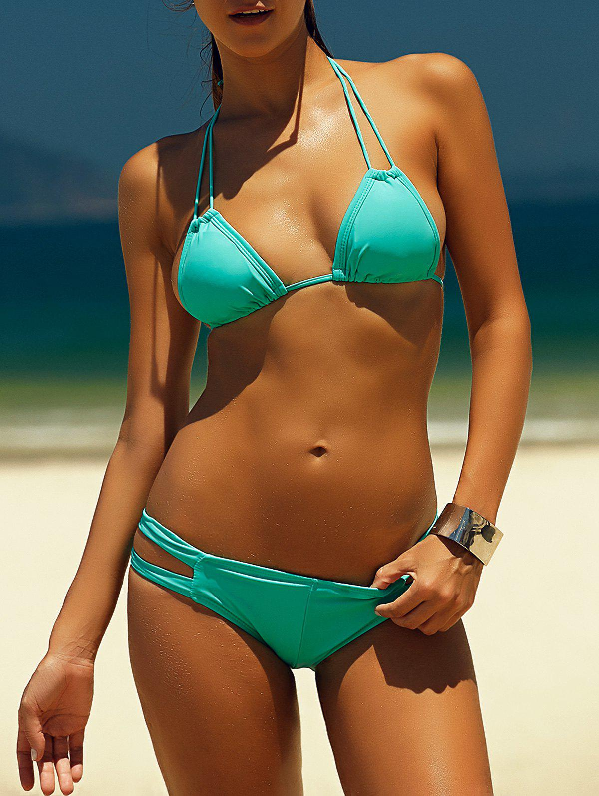 Halter Solid Color Hollow Out Lace-Up Bikini Set - GREEN M