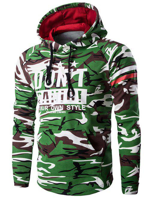 Camouflage Pattern Hooded Long Sleeve Men's Hoodie - ARMY GREEN 2XL