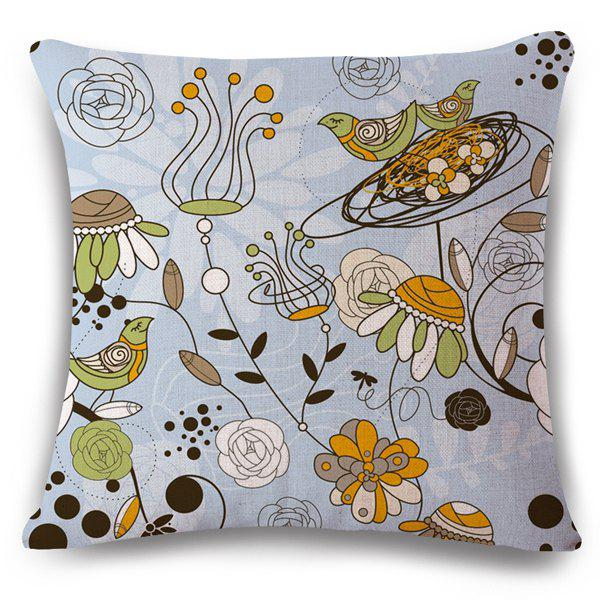 High Quality Flax Flower and Bird Pattern Sofa Pillow Case - COLORMIX