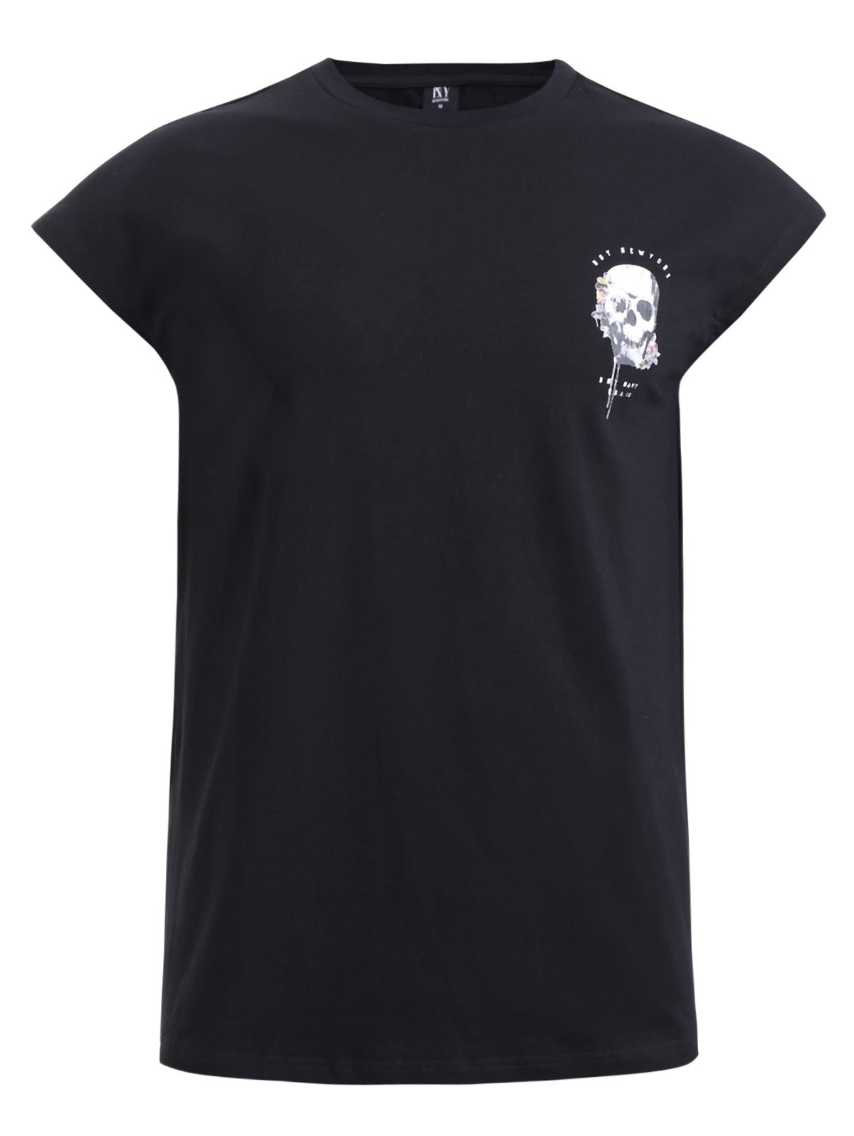 BoyNewYork Cool Skulls Printed Short Sleeves T-Shirt - XL BLACK