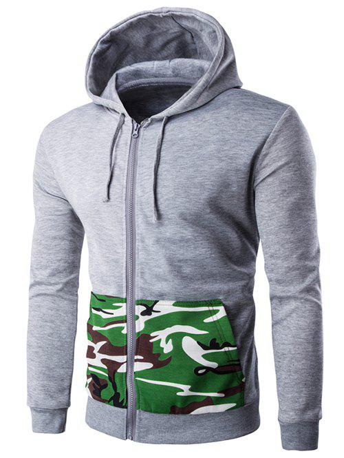 Camouflage Spliced Pocket Zip-Up Hooded Long Sleeve Men's Hoodie - LIGHT GRAY 2XL