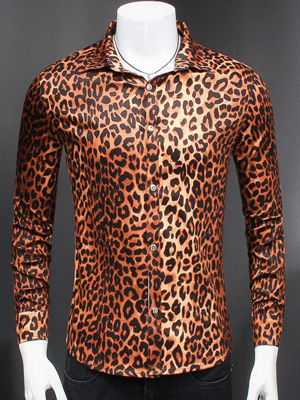 Stylish Turn-Down Collar Long Sleeves Leopard Shirt For Men - LEOPARD 4XL