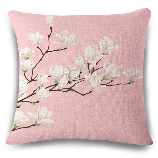 Fresh Style Flax White Bloom Spring Scenery Pattern Pillow Case - PINK/WHITE