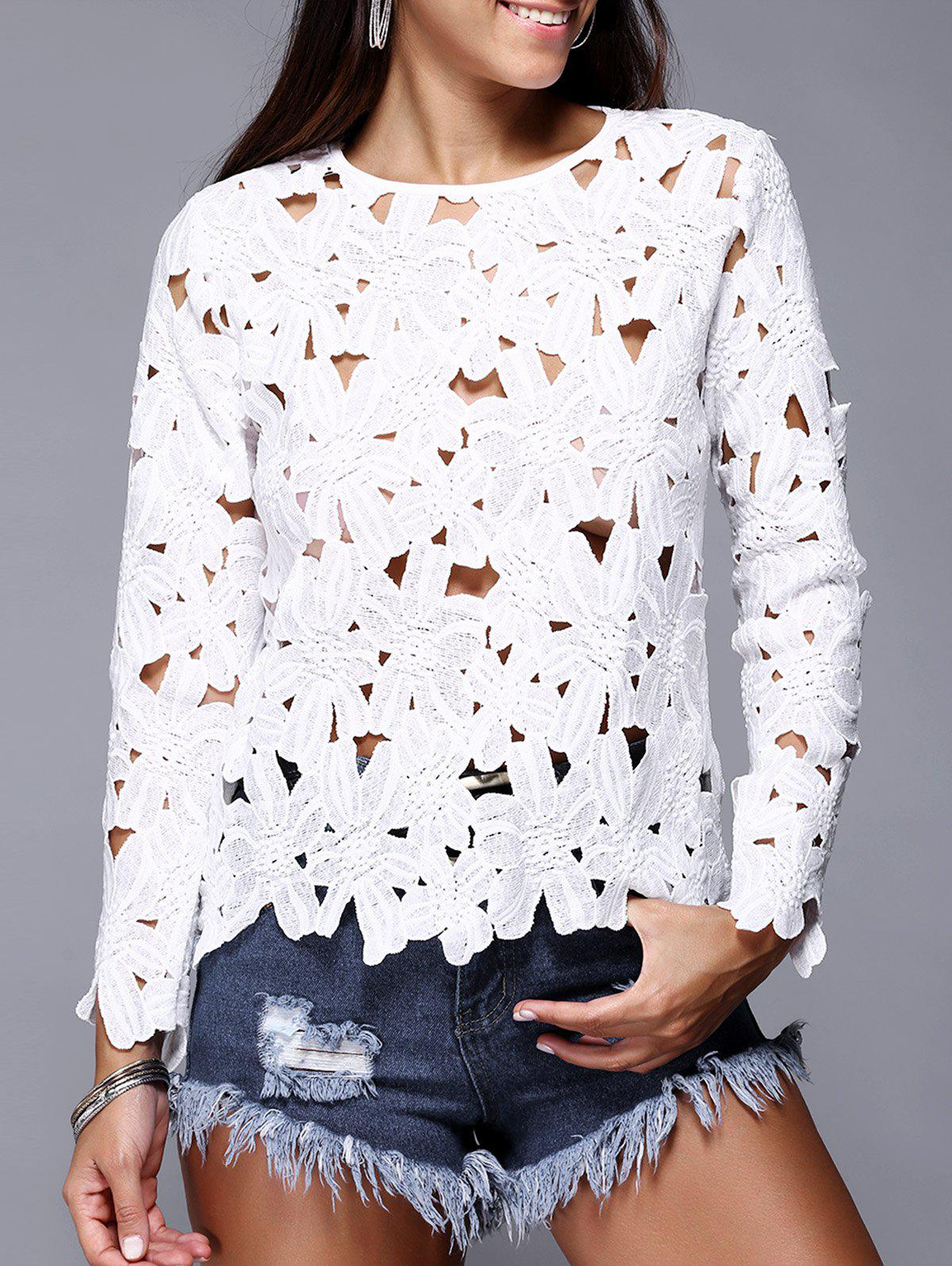 Hollow Out Pure Color Lace Tee - WHITE XL