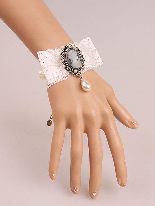 Faux Pearl Lace Cameo Bracelet - WHITE