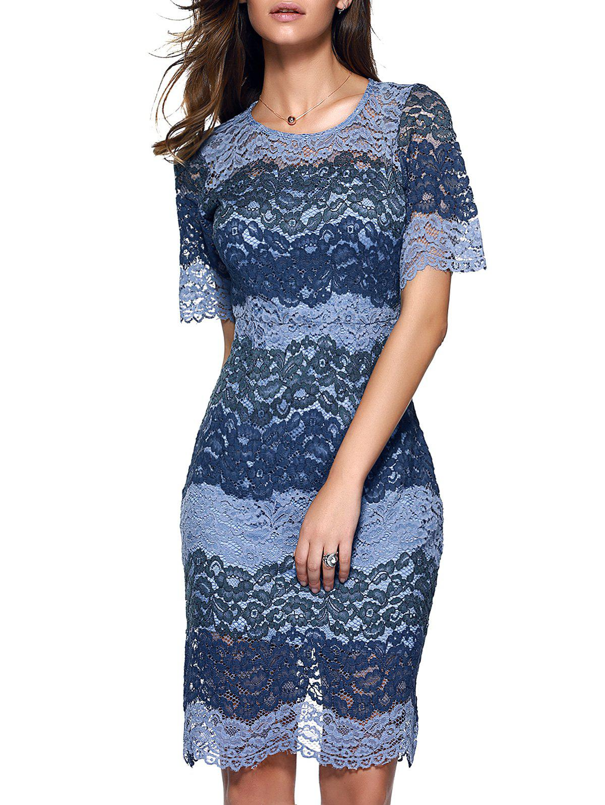 Attractive Women's Flounced Slit Lace Dress - PURPLISH BLUE XL