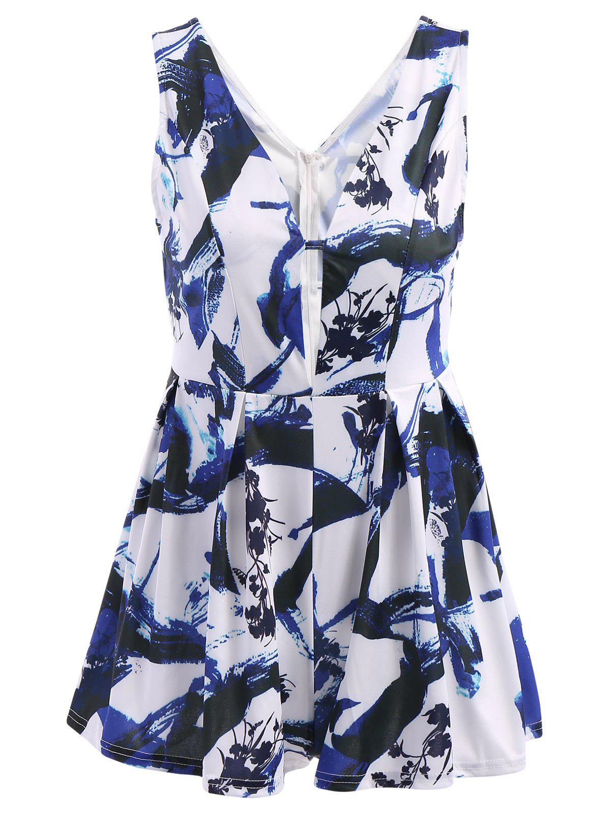 Stylish Women's Plunging Neckline Floral Print Sleeveless Romper - BLUE M
