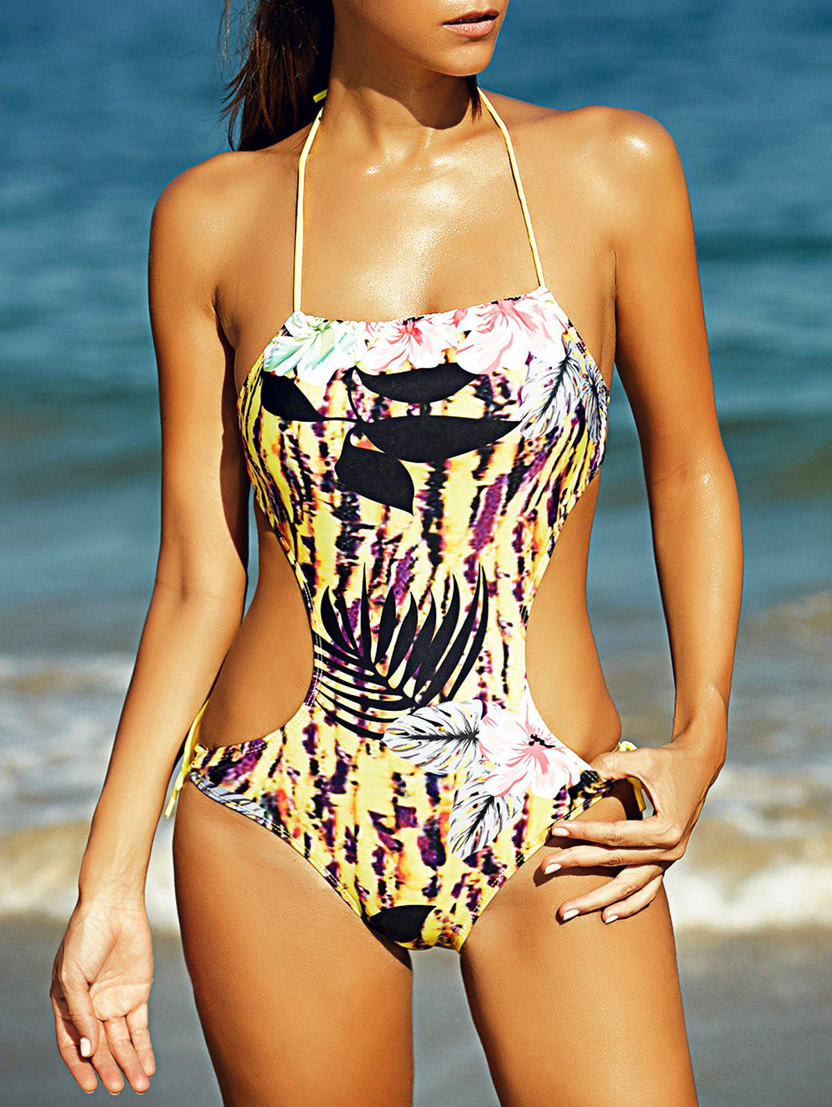 Halter Full Print Hollow Out Women's One-Piece Swimsuit - COLORMIX L
