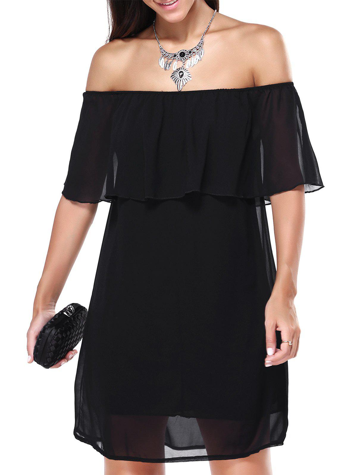 Off The Shoulder Overlay Chiffon Dress - BLACK L