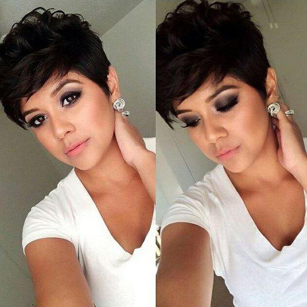 Handsome Short Fluffy Curly Side Bang Human Hair Wig For Women - JET BLACK