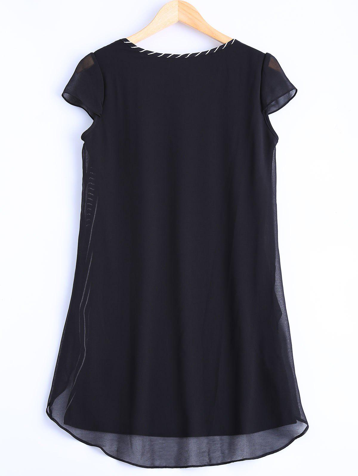 Oversized Chic Striped Chiffon Spliced Blouse - BLACK L