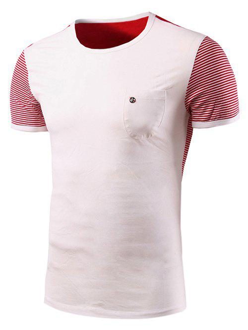 Casual Stripe Spliced Round Neck Short Sleeves T-Shirt For Men - WHITE 2XL