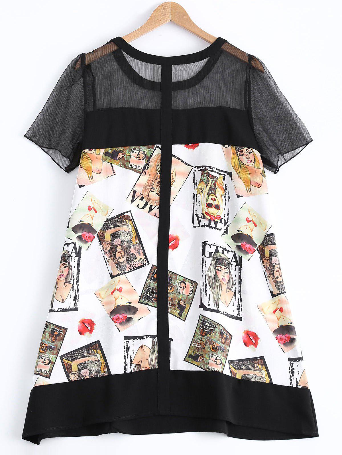 Oversized Chic Beauty Print A-Line Blouse - COLORMIX L