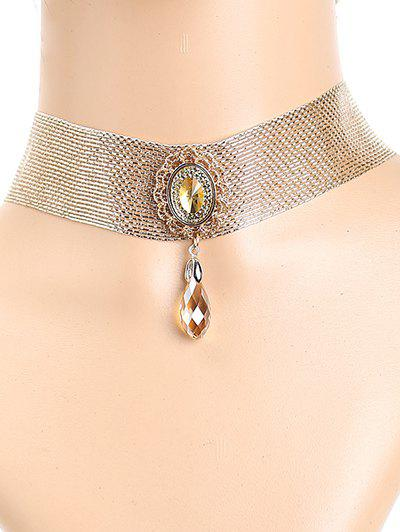 Stylish Faux Crystal Metal Lace Choker - GOLDEN