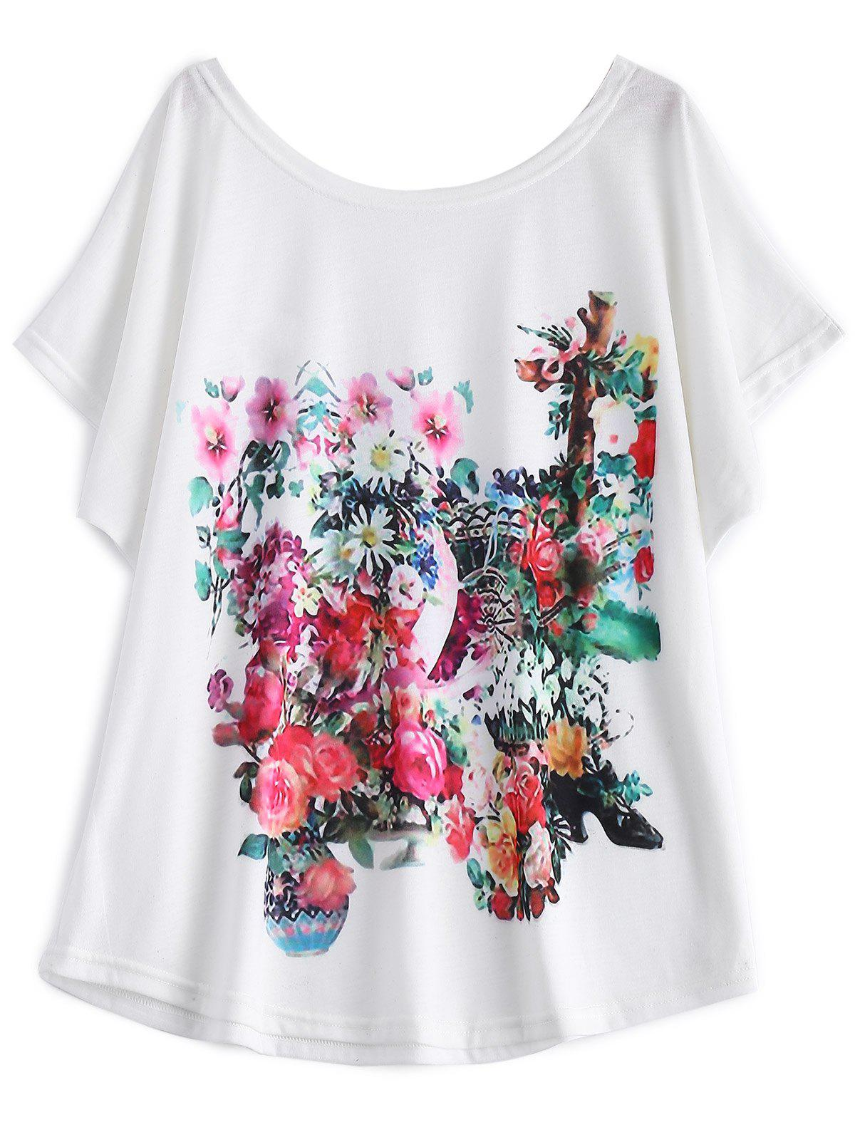 White Batwing Sleeve Floral Print T-Shirt - WHITE 2XL