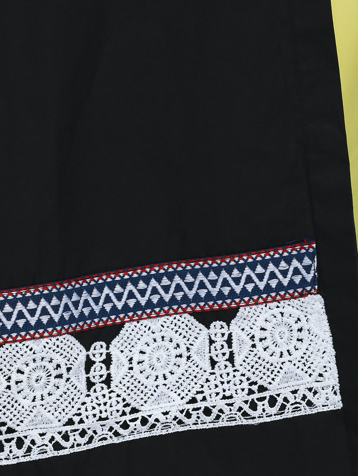 Sweet Lace Design Stand Collar 3/4 Sleeve Plus Size Blouse For Women - BLACK 4XL