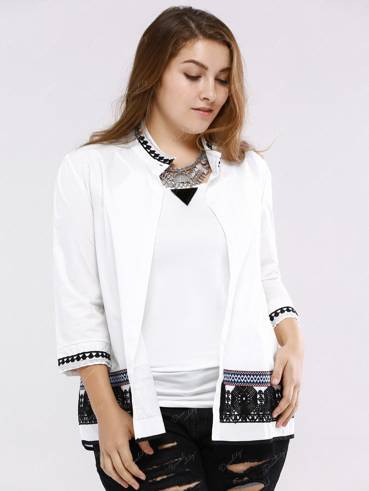 Stand Color Blouse Designs : Sweet lace design stand collar sleeve plus size