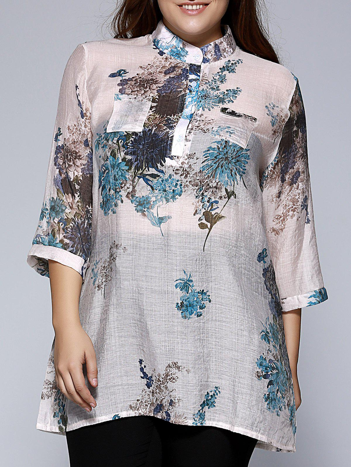 Stand Color Blouse Designs : Oversized ethnic stand collar floral print blouse