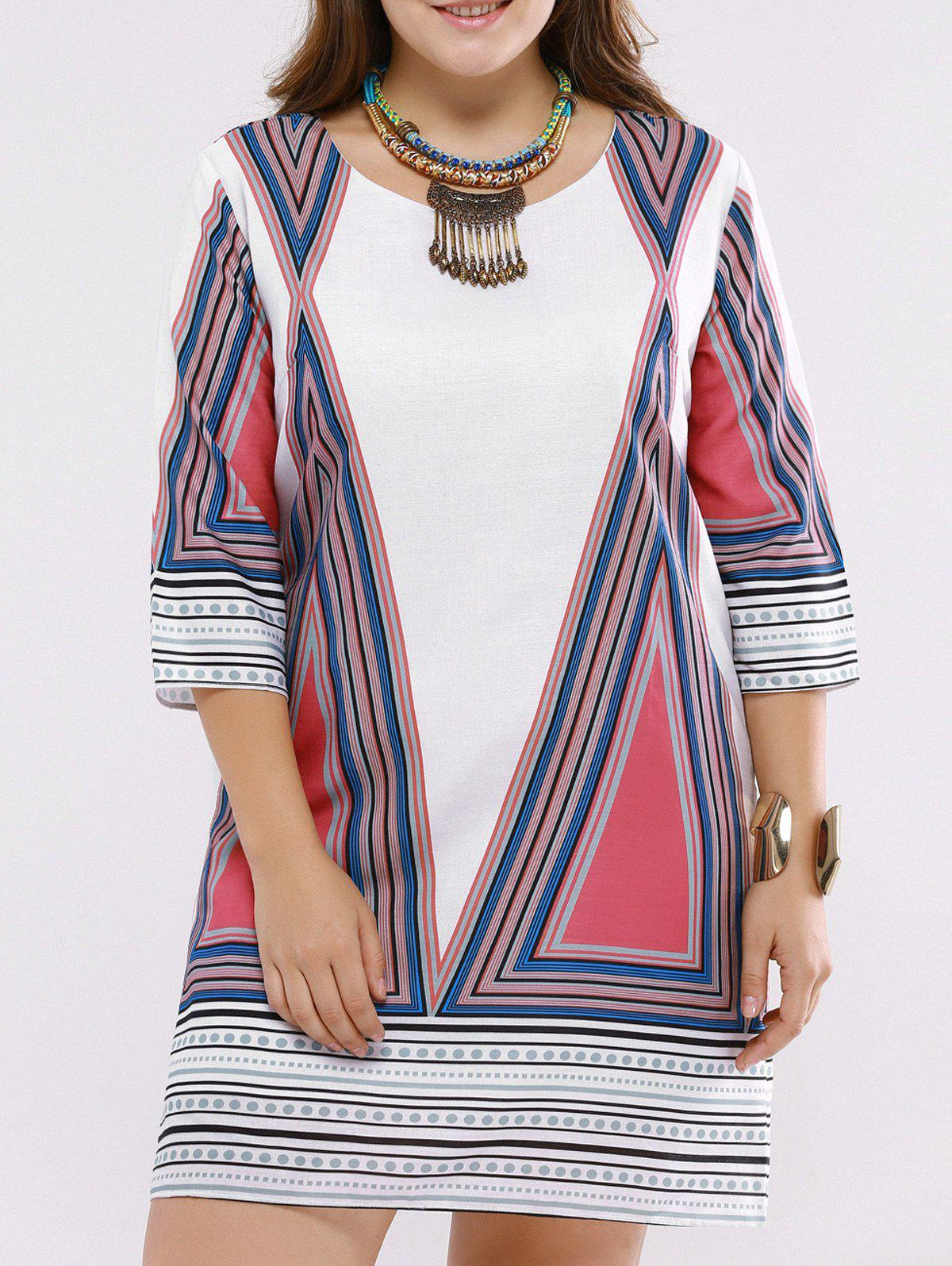 Refreshing Geometric Print Scoop Neck Plus Size Dress For Women - COLORMIX 5XL