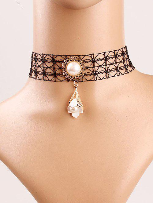 Stylish Faux Pearl Flower Lace Choker - BLACK