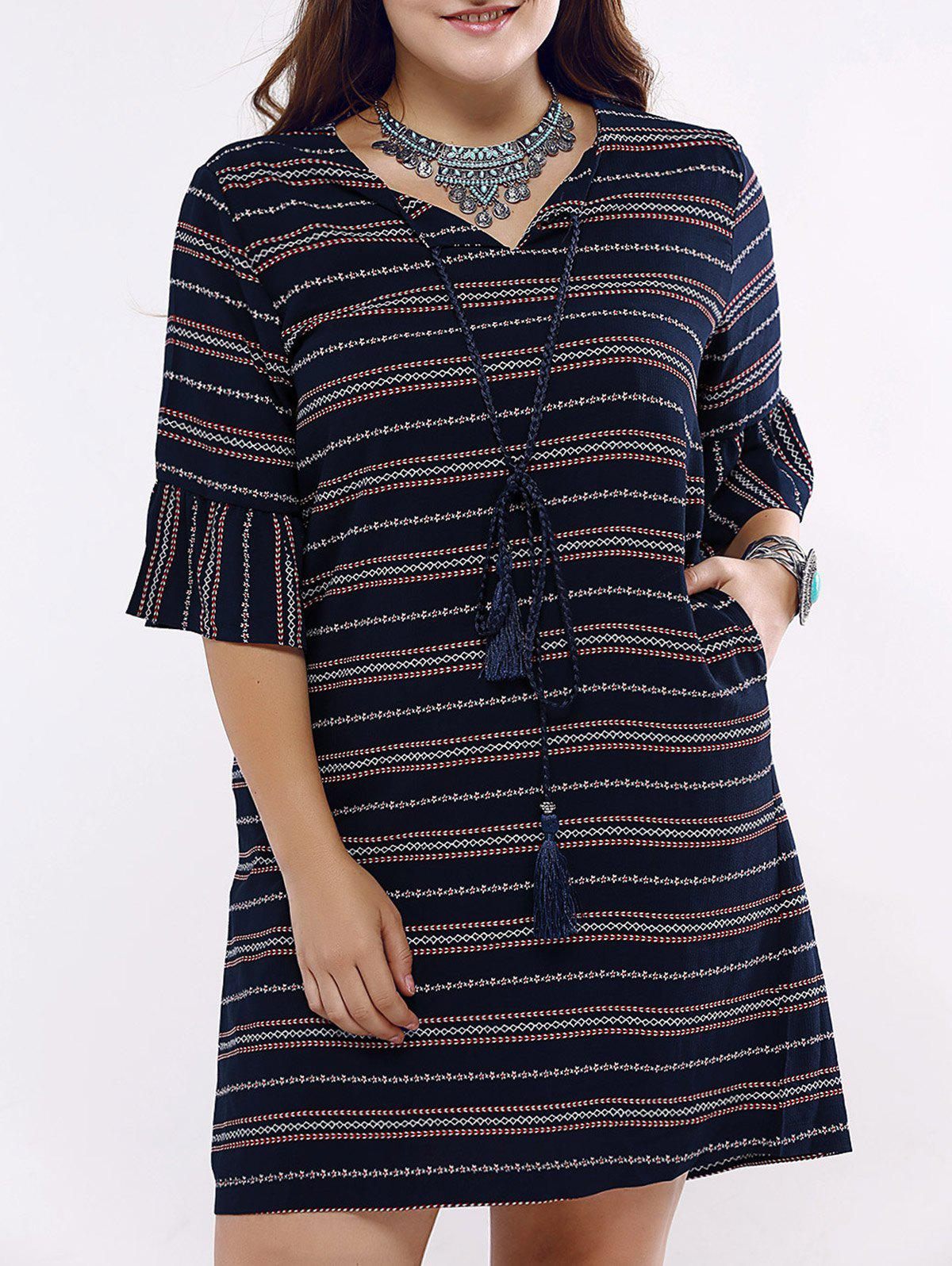 Ethnic Style Striped Flounce Sleeve Plus Size Dress For Women - PURPLISH BLUE 5XL